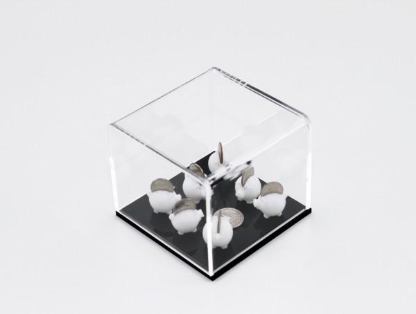 Caixa de acrílico com peças de ABS em impressão 3D e moedas 8X10X10cm [AFG007]